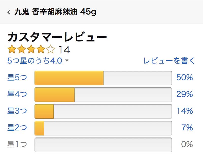 九鬼産業 香辛胡麻辣油のAmazon総合評価